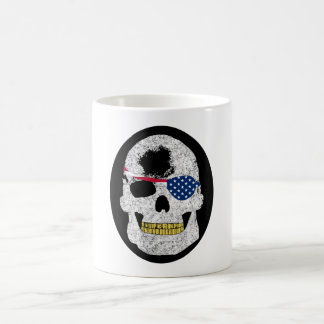 Skull Wearing American Flag Eye Patch Coffee Mug