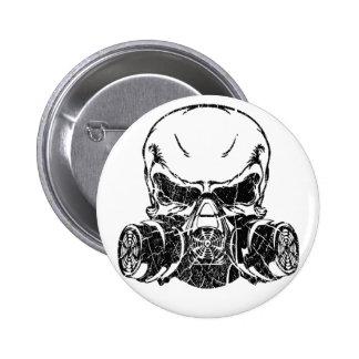 Skull Wearing Gas Mask 2 Inch Round Button