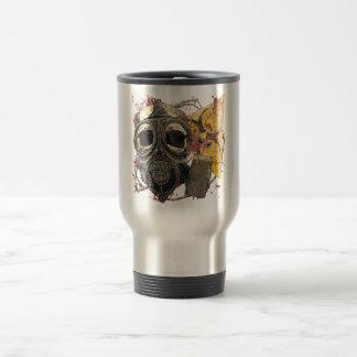 Skull wearing gasmask 15 oz stainless steel travel mug