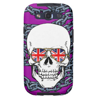 Skull wearing Union Jack sunglasses with chains Samsung Galaxy SIII Cases