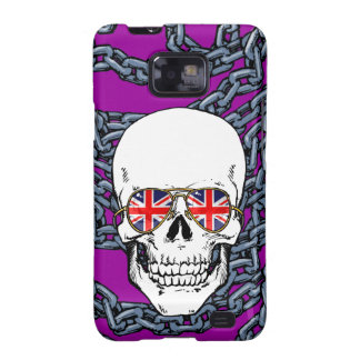 Skull wearing Union Jack sunglasses with chains Samsung Galaxy SII Covers