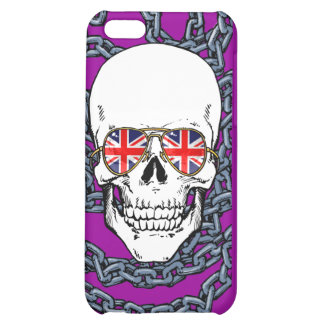 Skull wearing Union Jack sunglasses with chains iPhone 5C Cases