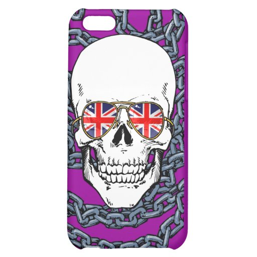 Skull wearing Union Jack sunglasses with chains iPhone 5C Covers