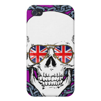 Skull wearing Union Jack sunglasses with chains iPhone 4 Cases