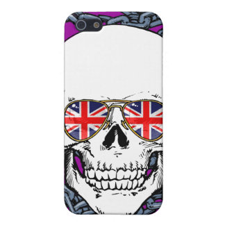 Skull wearing Union Jack sunglasses with chains iPhone 5 Cases