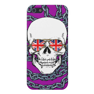 Skull wearing Union Jack sunglasses with chains iPhone SE/5/5s Cover