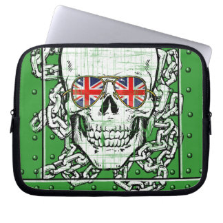 Skull wearing Union Jack sunglasses with chains Computer Sleeves