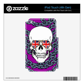 Skull wearing Union Jack sunglasses with chains iPod Touch 4G Decal