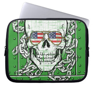 Skull wearing US Flag sunglasses with chains Laptop Computer Sleeves