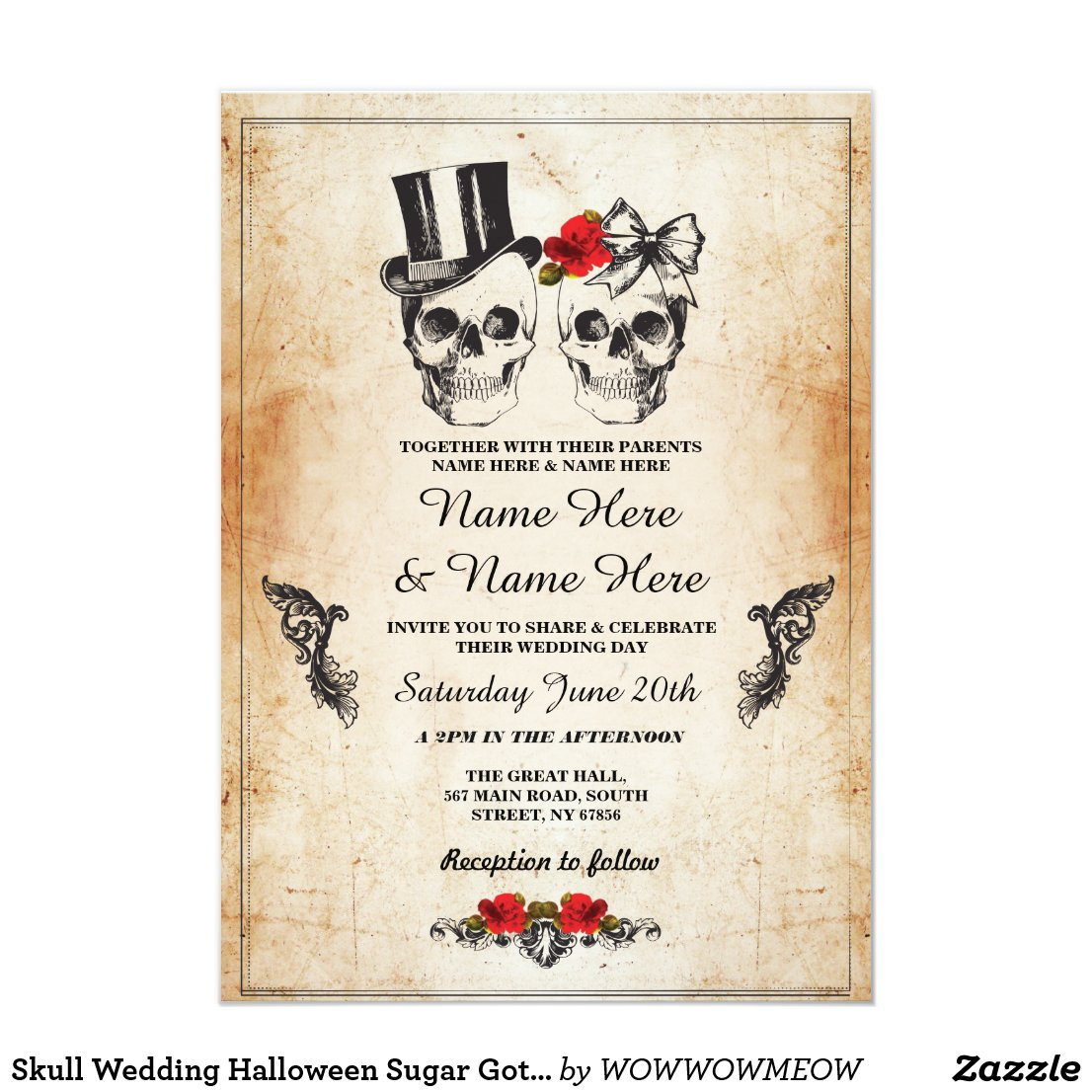 Skull Wedding Halloween Sugar Gothic Floral Invite