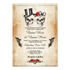 Skull Wedding Halloween Sugar Gothic Floral Invite at Zazzle