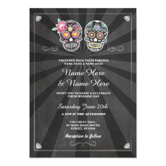 Skull Wedding Halloween Sugar Gothic Skulls Invite