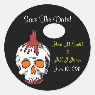 Skull Wedding Save The Date Sticker