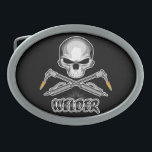 """Skull Welder and Crossed Torches Belt Buckle<br><div class=""""desc"""">Skull with crossed,  flaming torches. Welding sparks above the caption Welder.</div>"""