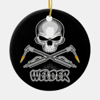 Skull Welder and Crossed Torches Ceramic Ornament