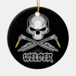 Skull Welder and Crossed Torches Double-Sided Ceramic Round Christmas Ornament