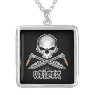 Skull Welder and Crossed Torches Silver Plated Necklace