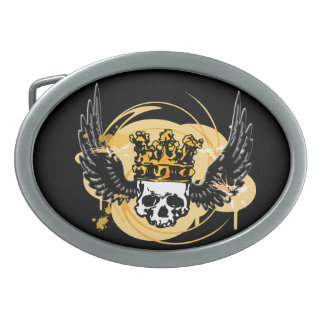 Skull & Wings Buckle Oval Belt Buckle