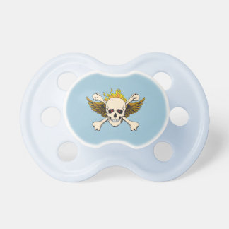 Skull Wings Crossbones Fire Pacifier