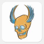 Skull ~ Wings Tattoo Skull Fantasy Art Square Stickers