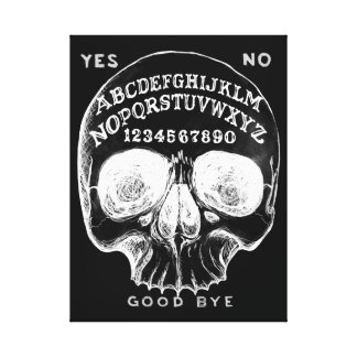 Skull witch board black canvas canvas print