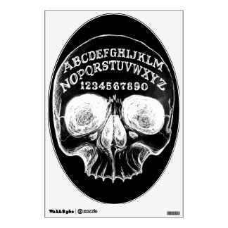 Skull witch board black oval wall decal