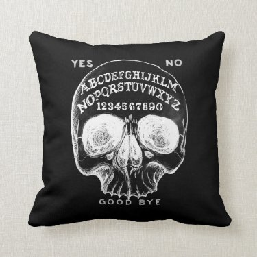 Skull witch board black pillow