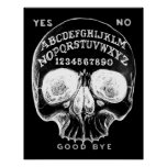 Skull witch board black poster