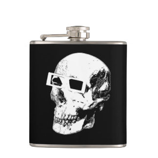 Skull with 3D Specs Mosh Flask