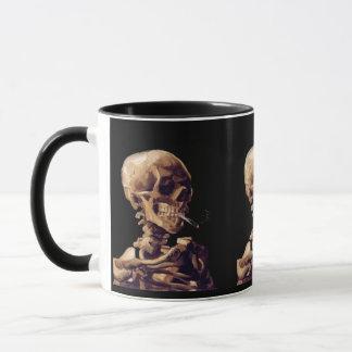 Skull with a burning cigarette by Van Gogh Mug