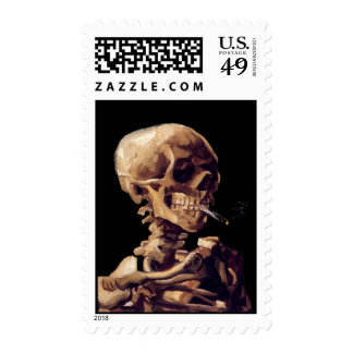 Skull with a burning cigarette by Van Gogh Stamp