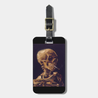 Skull With A Burning Cigarette Luggage Tag