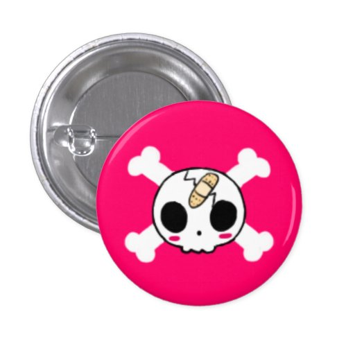 Skull with Band-aid Pinback Button