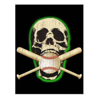 SKULL WITH BASEBALL AND BATS POSTCARD
