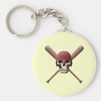 Skull with Baseball  Helm and Crossed Bats Basic Round Button Keychain
