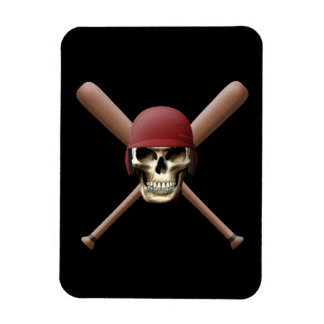 Skull with Baseball  Helm and Crossed Bats Magnet