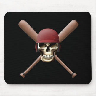 Skull with Baseball  Helm and Crossed Bats Mouse Pad