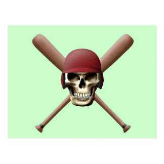 Skull with Baseball  Helm and Crossed Bats Postcard