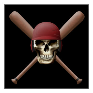 Skull with Baseball  Helm and Crossed Bats Print