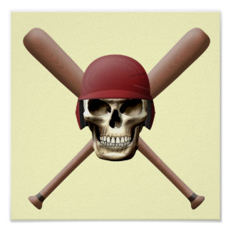 Skull with Baseball  Helm and Crossed Bats Poster