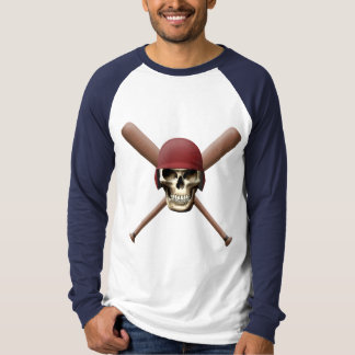 Skull with Baseball  Helm and Crossed Bats T-Shirt