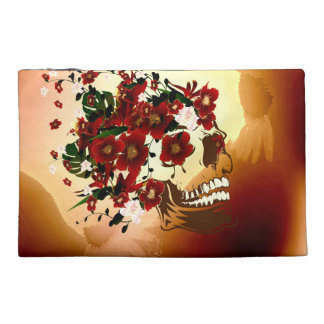 Skull with beautiful flowers travel accessories bags
