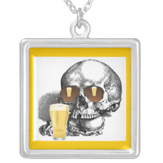SKULL WITH BEER GLASSES SILVER PLATED NECKLACE