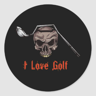 Skull with Bent Golf Club I LOVE GOLF Classic Round Sticker