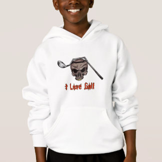 Skull with Bent Golf Club I LOVE GOLF Hoodie