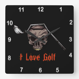 Skull with Bent Golf Club I LOVE GOLF Square Wall Clock
