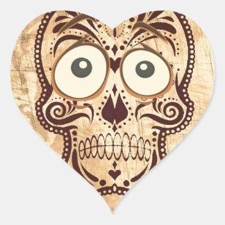 skull with big eyes heart sticker