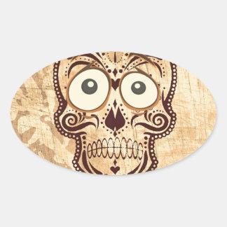 skull with big eyes oval sticker