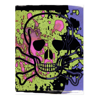 Skull with blood drops postcard