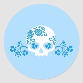 Skull with Blue Flower Pattern Classic Round Sticker